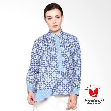 SIMPLE LADIES SL Batik Kawung Blouse - Blue
