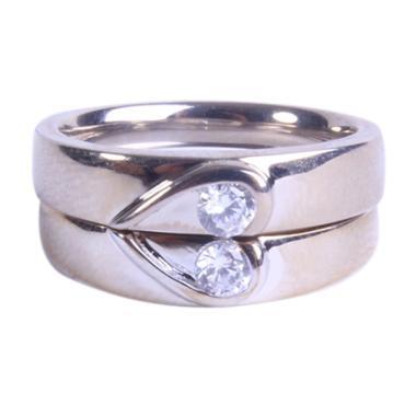 Bella & Co Angel Heart Perak Lapis Emas Cincin Couple Silver