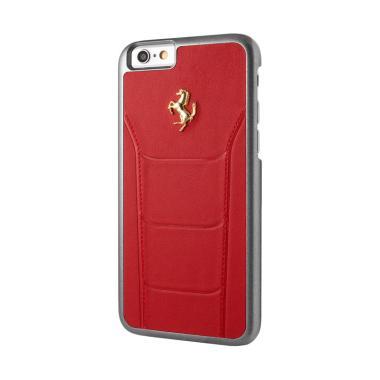 Ferrari Gold Debossed Leather Casing for iPhone 6 or 6S - Merah