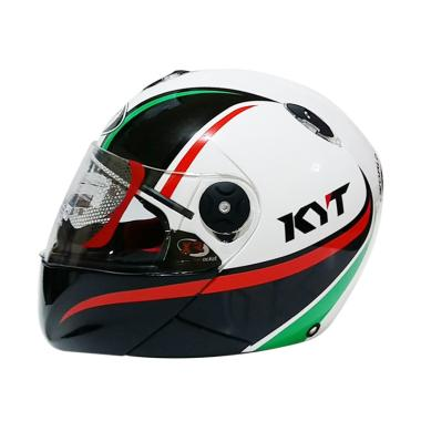 KYT X Rocket Retro #2 Helm Full Face - White Black Green