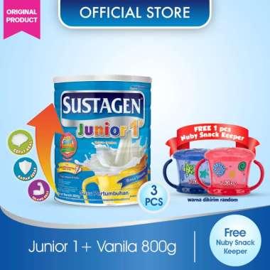 Buy 3 Sustagen Junior 1+ Vanila Susu Formula 800g + Free Nuby Snack Keeper Blue
