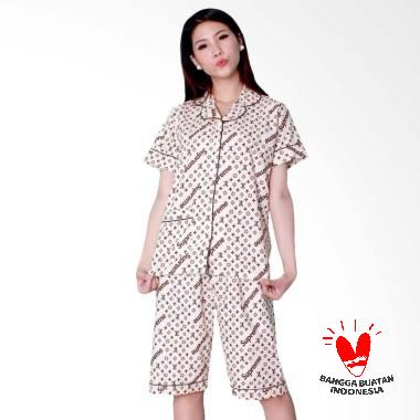 Dasterland Motif LV Supreme Setelan Baju Tidur Wanita - Cream