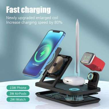 harga Wireless Charger 4 in 1 Airpods TWS iPhone Apple Watch FD306 ORIGINAL 100 % Multicolor Blibli.com