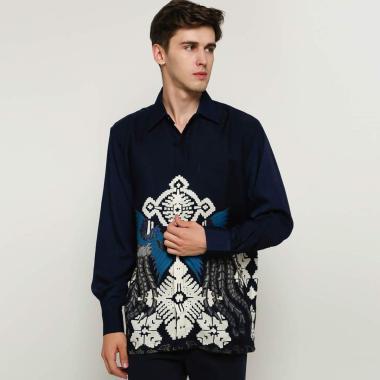 harga Blitique Baroon Batik Print Kemeja Pria - Biru Blibli.com