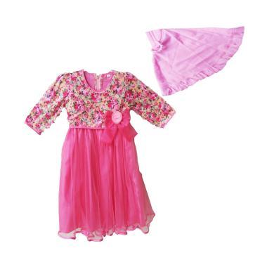 Baby Zakumi Flowers Gamis Muslim Anak - Pink