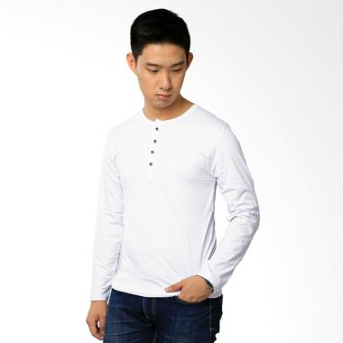 Elfs Shop 6E Button Kaos Lengan Panjang - Putih