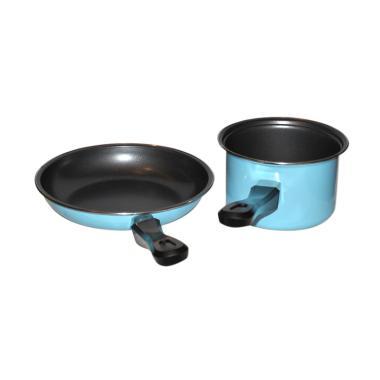 Maspion Pastela Set Fry Pan dan Milk Pan - Biru [20 dan 14 cm]