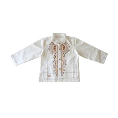 Rafifa Panjang Model C Baju Koko Anak - Putih Gading