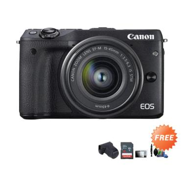 Canon EOS M3 Kit EF-M 15-45 IS STM  ...  Black + Free Aksessories