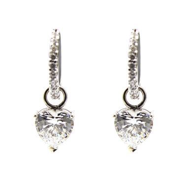 Batu Mas Gypsy Heart Cubic Zirconia Anting - White Gold [14k]