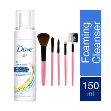 Dove 3 in 1 Make Up Remover Free Make Up Brush Set Pink