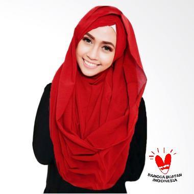 Milyarda Hijab Shiren Kerut Jilbab Instant - Merah