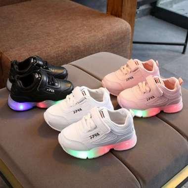 harga Promo FPVA Sepatu Sneaker LED Anak Laki-lakiPerempuan Lampu Menyala T56 - Hitam 21 Putih 21 Diskon Blibli.com