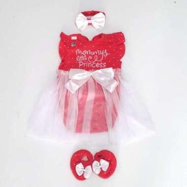 harga Baju Bayi Perempuan Dress Jumper Mommys Girl Set Bandana dan Sepatu 3-9 bulan merah Blibli.com