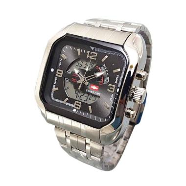 Swiss Army ST7676AD Dual Time Jam Tangan Pria - Silver silver