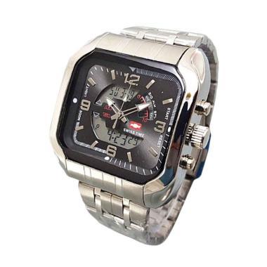 Swiss Army ST7676 Dual Time Jam Tangan Pria - Silver