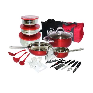 Oxone OX-993 Set Panci Travel Cookware - Merah [33 pcs]