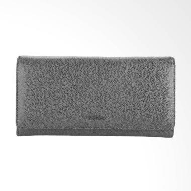 Bonia Medium Leather Flap Purse Dompet Wanita - Grey