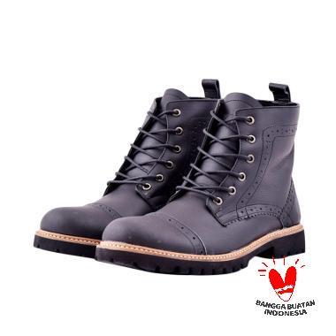 Azcost Sepatu Boots Kulit Azcost Pedro - Black