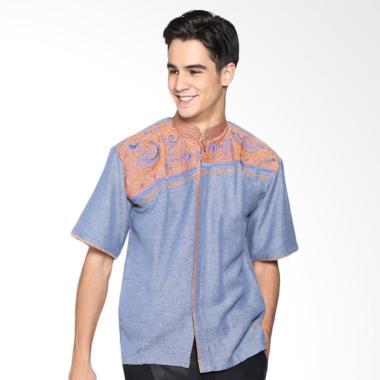 Batik Distro K8071 Kemeja Pria Koko Bordir - Biru