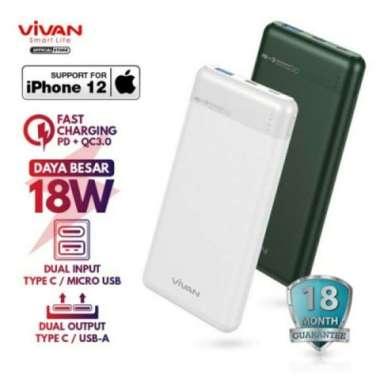 Dijual Vivan VPB-M10 Power Bank 10000mAh 2 Input Output PD QC3.0 Powerbank - Hijau Limited