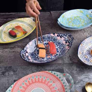 harga Oval Plate With Handle Piring Keramik Nampan Saji