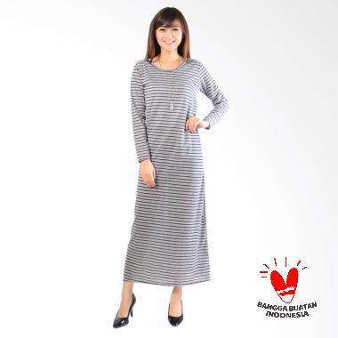 Jfashion Stripe Maxi Simpel Elegan Gamis - Coklat