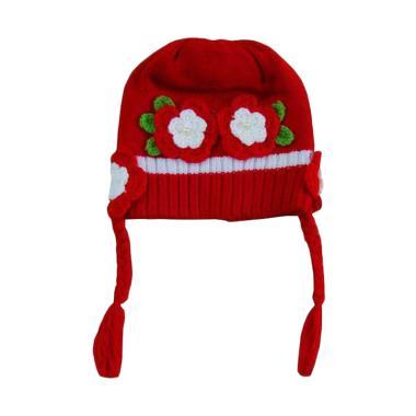 Wonderland Topi Rajut Kepang Topi Anak - Merah