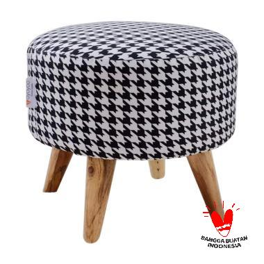 Ayoyoo Houndstooth Moon Stool - Black