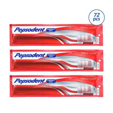 Pepsodent Triple Clean Sikat Gigi Medium  72 pcs  1b5da6db58