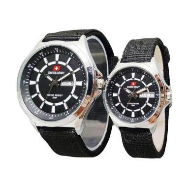 Swiss Army SA 1490 AD Couple Watch - Silver Black