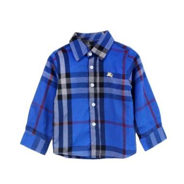 GBS Burberry Kemeja Navy Kotak Baju Atasan Anak Laki-laki