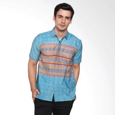 Jogja Batik Reza Hem Lengan Pendek Baju Batik - Biru