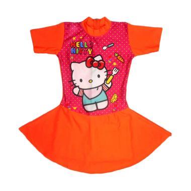 Nice Motif Hello Kitty Polka Baju Renang Rok ABG - Orange