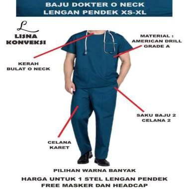 harga Baju Dokter Scrub OKA American Drill Lengan Pendek XS-XL Ungu tua Blibli.com