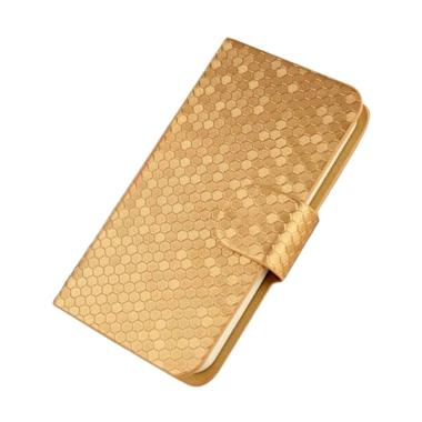 OEM Glitz Flip Cover Casing for Samsung Galaxy C7 - Emas