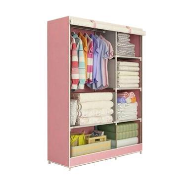 Gogo Model Bear New Cloth Rack Lemari Pakaian with Cover - Pink