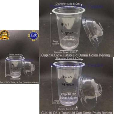 harga Cup Plastik 12 OZ - 14 OZ - 16 OZ + Tutup Lid Cup Dome Polos Bening [ Isi 50 Cup ] 16 OZ 4 Gram + Tutup Lid Cup Dome Blibli.com
