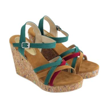 JK Collection JTI 4003 Sandal Wedges Wanita - Hijau