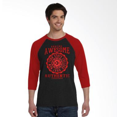 Fantasia 3/4 Lengan Panjang Awesome T-Shirt Pria - Merah