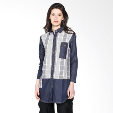Carte Long Sleeve denim Shirt Atasan Wanita - Dark Denim
