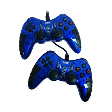 M-Tech MT-8200 Gamepad Turbo Double Getar Gaming Stick - Biru