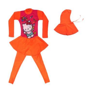 Nice ABG Motif Hello Kitty Baju Renang Muslim - Orange