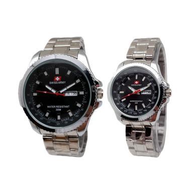Jam Tangan Swiss Army SA4366AD Couple - Silver Black