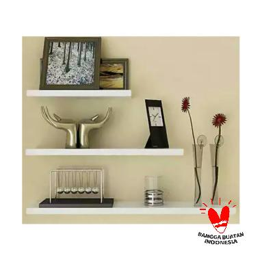 Sakura Floating Shelves White Glossy Rak Dinding