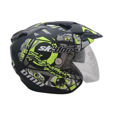 Cam Ski Doo Double Visor Helm Half Face Motor - B-Doff/Yellow