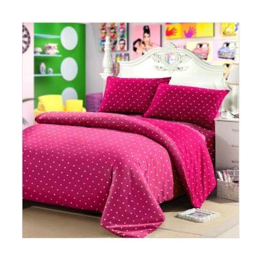 Ellenov Motif Polkadot Sprei dan Bed Cover - Pink Fanta