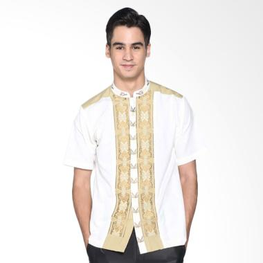 Batik Distro Bordir Kemeja Pria Koko K8073 - Putih
