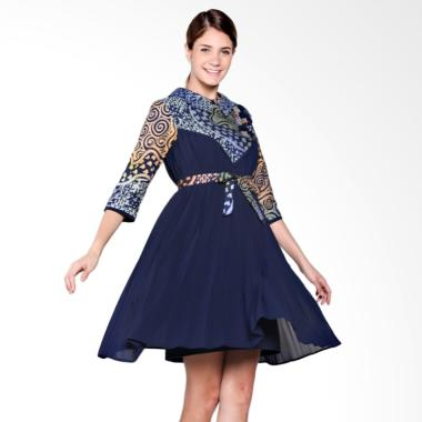 Mentique Boutique Swing Midi Batik Dress - Biru