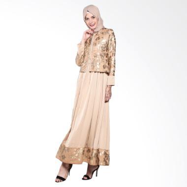 Fatimah Dress - M - Gold Satin Rompi Brukat Kulit